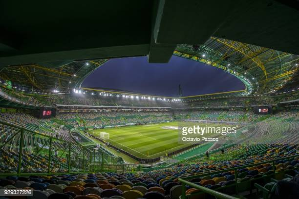General view of the stadium prior the UEFA Europa League Round of 16 first leg match between Sporting Lisbon and Viktoria Plzen at Estadio Jose...