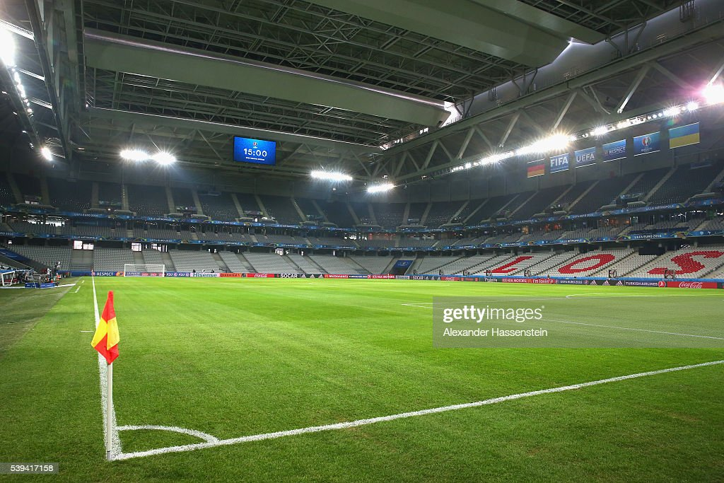 General view of the stadium prior to a Germany training session at Stade Pierre-Mauray ahead of their opening UEFA EURO 2016 match against Ukraine, on June 12, 2016 in Lille, France.