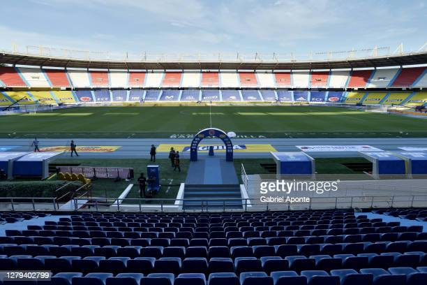 General view of the stadium prior to a match between Colombia and Venezuela as part of South American Qualifiers for Qatar 2022 at Estadio...