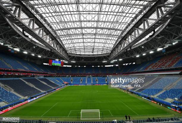 A general view of the stadium prior to apress conference of the German national football team on July 1 2017 in Saint Petersburg Russia