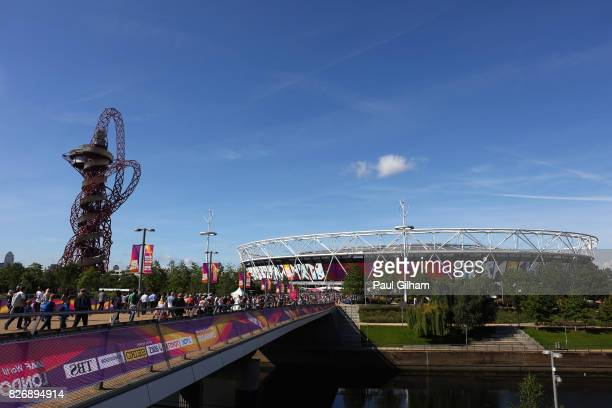 General view of the stadium prior to day three of the 16th IAAF World Athletics Championships London 2017 at The London Stadium on August 6, 2017 in...