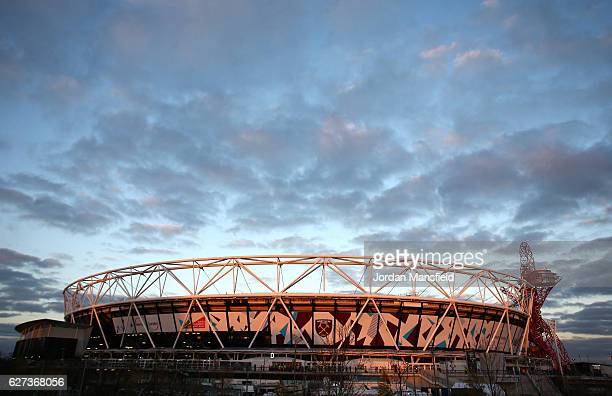 General view of the stadium prior to during the Premier League match between West Ham United and Arsenal at London Stadium on December 3, 2016 in...