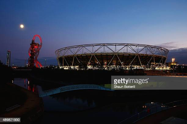General view of the stadium prior to kickoff during the 2015 Rugby World Cup Pool C match between New Zealand and Namibia at the Olympic Stadium on...