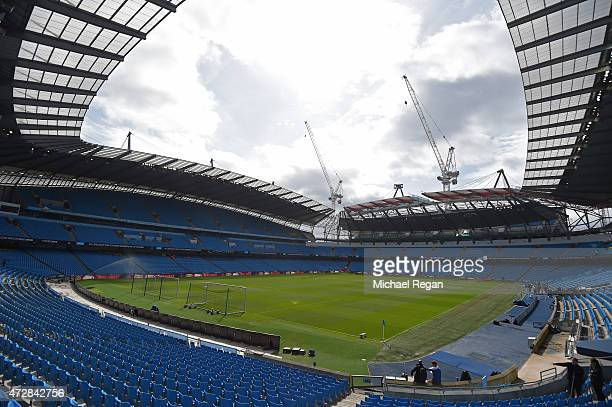 A general view of the stadium prior to kickoff during the Barclays Premier League match between Manchester City and Queens Park Rangers at the Etihad...