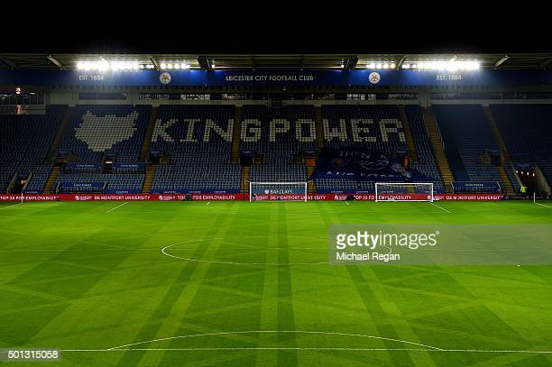 A general view of the stadium prior to kickoff during the Barclays Premier League match between Leicester City and Chelsea at the King Power Stadium...
