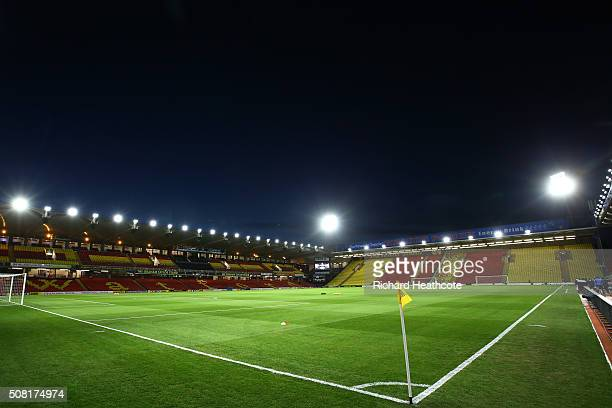 A general view of the stadium prior to kickoff during the Barclays Premier League match between Watford and Chelsea at Vicarage Road on February 3...