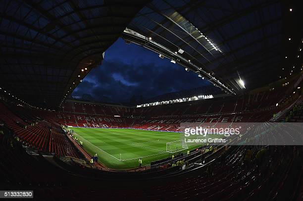 A general view of the stadium prior to kickoff during the Barclays Premier League match between Manchester United and Watford at Old Trafford on...