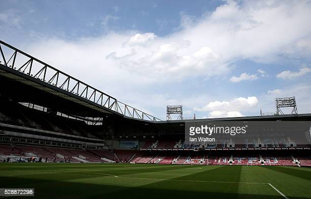 A general view of the stadium prior to kickoff during the Barclays Premier League match between West Ham United and Swansea City at the Boleyn Ground...