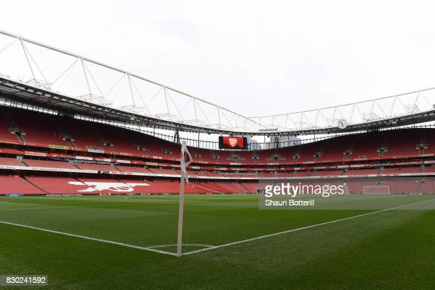 A general view of the stadium prior to kickoff during the Premier League match between Arsenal and Leicester City at the Emirates Stadium on August...