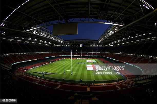 A general view of the stadium prior to kickoff during the RBS Six Nations match between Wales and England at the Millennium Stadium on February 6...