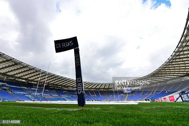 A general view of the stadium prior to kickoff during the RBS Six Nations match between Italy and England at the Stadio Olimpico on February 14 2016...