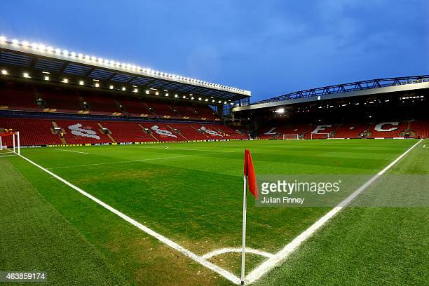 A general view of the stadium prior to kickoff during the UEFA Europa League Round of 32 match between Liverpool FC and Besiktas JK at Anfield on...