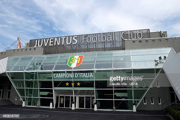 A general view of the stadium prior to kickoff during the UEFA Europa League semi final match between Juventus and SL Benfica at Juventus Arena on...