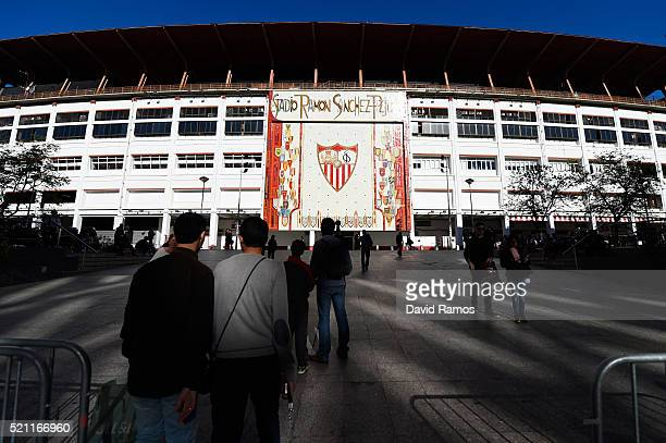 A general view of the stadium prior to kickoff during the UEFA Europa League quarter final second leg match between Sevilla and Athletic Bilbao at...