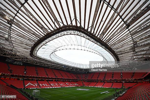 A general view of the stadium prior to kickoff during the UEFA Europa League group F jdmatch between Athletic Club and SK Rapid Wien at the Estadio...