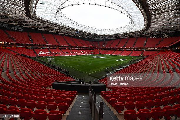 A general view of the stadium prior to kickoff during the UEFA Europa League group F match between Athletic Club and SK Rapid Wien at the Estadio de...