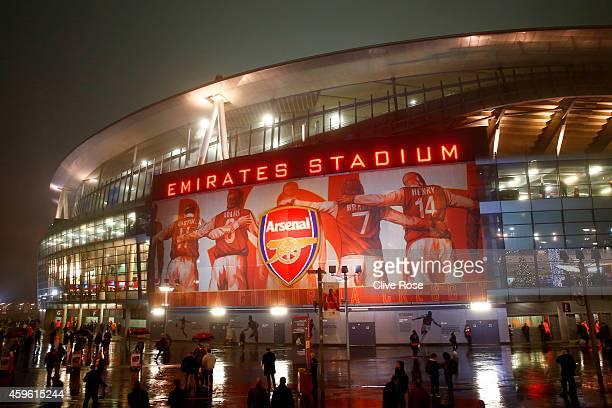 A general view of the stadium prior to kickoff during the UEFA Champions League Group D match between Arsenal and Borussia Dortmund at the Emirates...