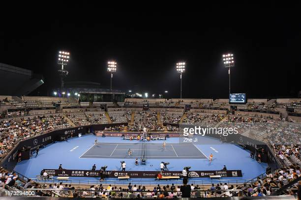 General view of the stadium prior to the 2019 China Open at the China National Tennis Center on October 3, 2019 in Beijing, China.