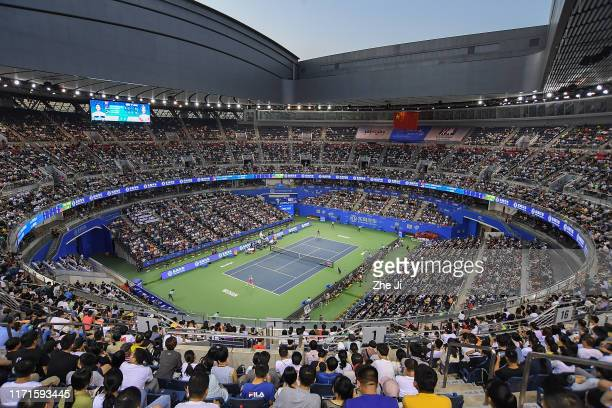 A general view of the stadium prior to the 2019 Dongfeng Motor Wuhan Open at Optics Valley International Tennis Center on September 28 2019 in Wuhan...
