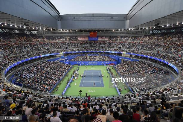 General view of the stadium prior to the 2019 Dongfeng Motor Wuhan Open at Optics Valley International Tennis Center on September 28, 2019 in Wuhan,...