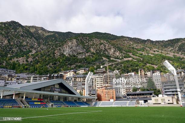 General view of the stadium prior to the 2020 UEFA European Under-21 Championship Group C Qualifier between Andorra and England at Estadi Nacional on...