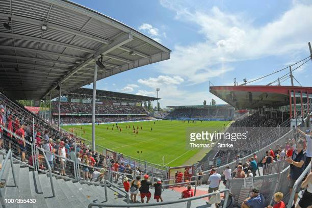 General view of the stadium prior to the 3. Liga match between FC Energie Cottbus and F.C. Hansa Rostock at Stadion der Freundschaft on July 29, 2018...