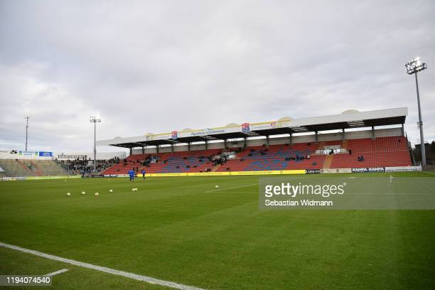 General view of the stadium prior to the 3. Liga match between SpVgg Unterhaching and MSV Duisburg at Alpenbauer Sportpark on December 15, 2019 in...