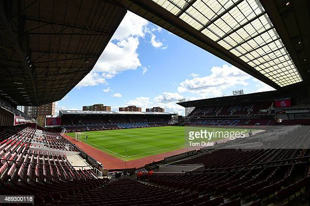 General view of the stadium prior to the Barclays Premier League match between West Ham United and Stoke City at Boleyn Ground on April 11 2015 in...