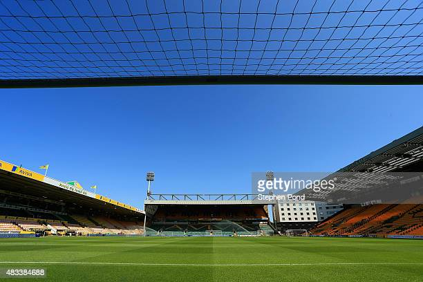 A general view of the stadium prior to the Barclays Premier League match between Norwich City and Crystal Palace at Carrow Road on August 8 2015 in...