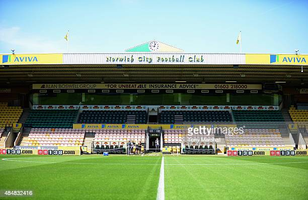 A general view of the stadium prior to the Barclays Premier League match between Norwich City and Stoke City at Carrow Road on August 22 2015 in...