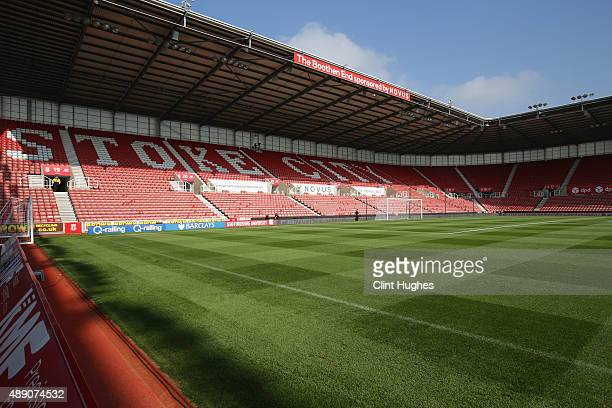 A general view of the stadium prior to the Barclays Premier League match between Stoke City and Leicester City at Britannia Stadium on September 19...