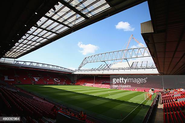 A general view of the stadium prior to the Barclays Premier League match between Liverpool and Aston Villa at Anfield on September 26 2015 in...