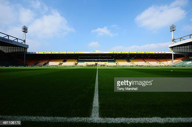 A general view of the stadium prior to the Barclays Premier League match between Norwich City and Leicester City at Carrow Road on October 3 2015 in...