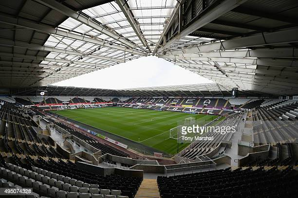 A general view of the stadium prior to the Barclays Premier League match between Swansea City and Arsenal at Liberty Stadium on October 31 2015 in...
