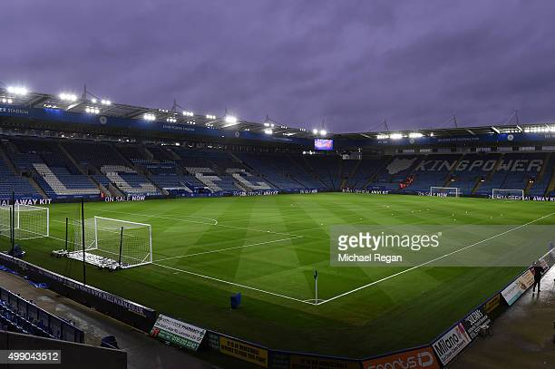 A general view of the stadium prior to the Barclays Premier League match between Leicester City and Manchester United at The King Power Stadium on...