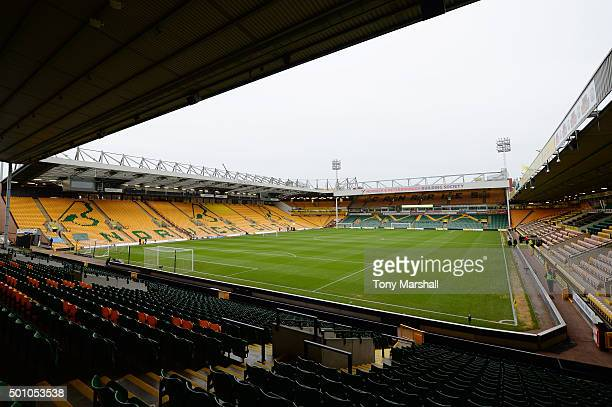 A general view of the stadium prior to the Barclays Premier League match between Norwich City and Everton at Carrow Road on December 12 2015 in...