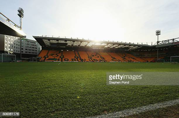 A general view of the stadium prior to the Barclays Premier League match between Norwich City and Liverpool at Carrow Road on January 23 2016 in...