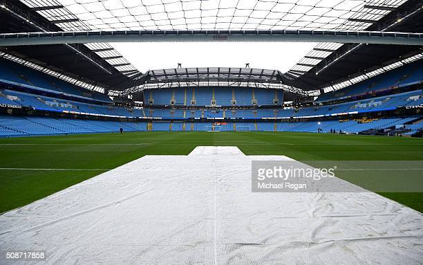 A general view of the stadium prior to the Barclays Premier League match between Manchester City and Leicester City at the Etihad Stadium on February...