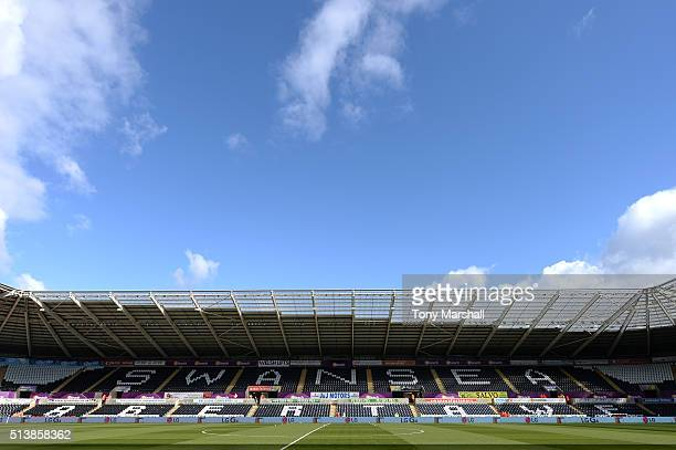 A general view of the stadium prior to the Barclays Premier League match between Swansea City and Norwich City at Liberty Stadium on March 5 2016 in...