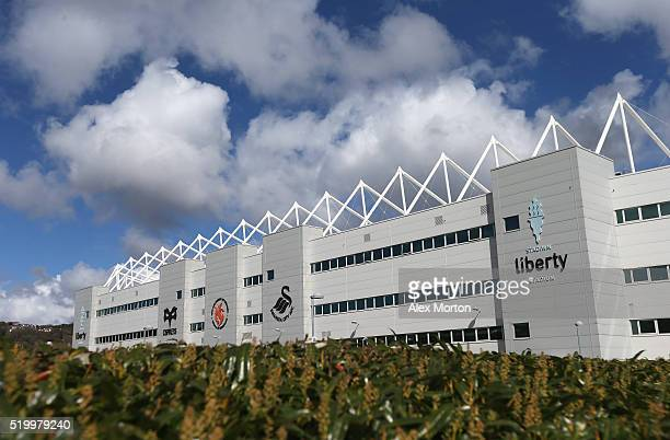 A general view of the stadium prior to the Barclays Premier League match between Swansea City and Chelsea at the Liberty Stadium on April 9 2016 in...