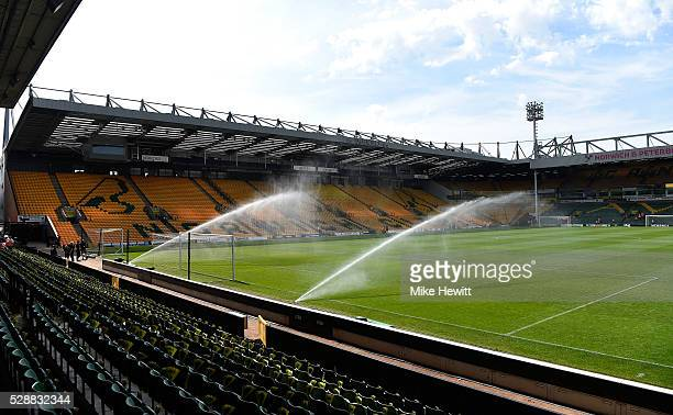 A general view of the stadium prior to the Barclays Premier League match between Norwich City and Manchester United at Carrow Road on May 7 2016 in...