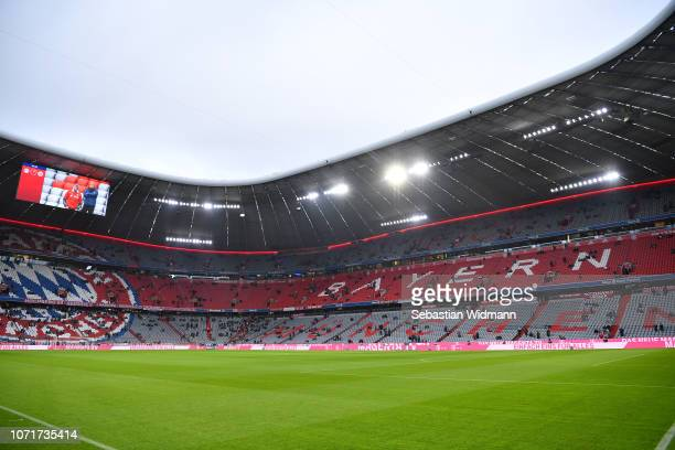 General view of the stadium prior to the Bundesliga match between FC Bayern Muenchen and Fortuna Duesseldorf at Allianz Arena on November 24 2018 in...
