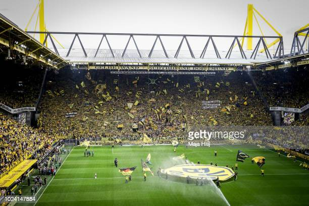 General view of the Stadium prior to the Bundesliga match between Borussia Dortmund and RB Leipzig at Signal Iduna Park on August 26 2018 in Dortmund...