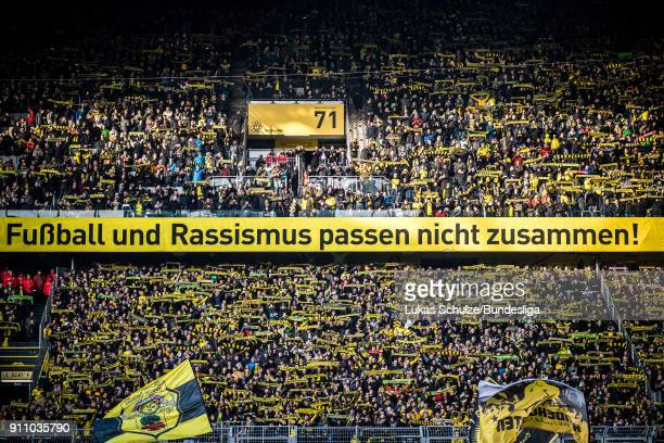 General view of the stadium prior to the Bundesliga match between Borussia Dortmund and SportClub Freiburg at Signal Iduna Park on January 27 2018 in...