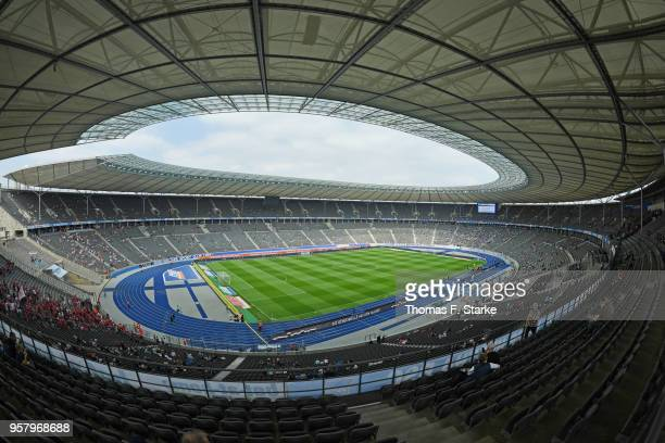 A general view of the stadium prior to the Bundesliga match between Hertha BSC and RB Leipzig at Olympiastadion on May 12 2018 in Berlin Germany