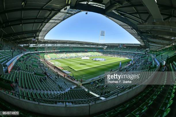 General view of the stadium prior to the Bundesliga match between SV Werder Bremen and Bayer 04 Leverkusen at Weserstadion on May 5, 2018 in Bremen,...