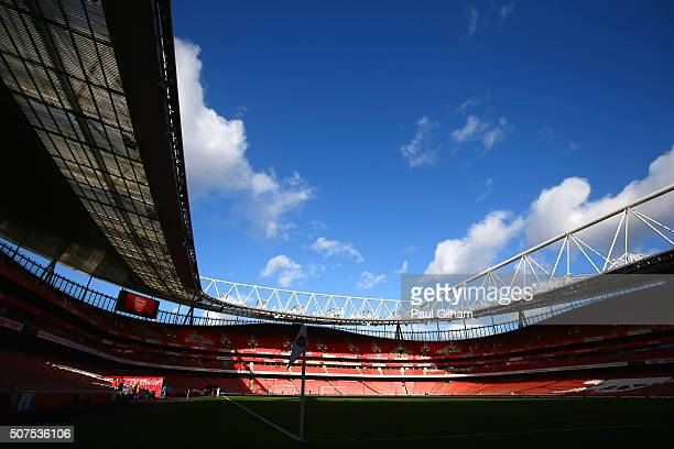 A general view of the stadium prior to the Emirates FA Cup Fourth Round match between Arsenal and Burnley at Emirates Stadium on January 30 2016 in...