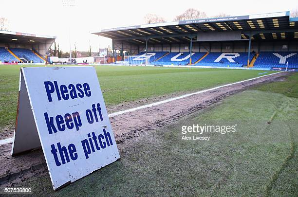 A general view of the stadium prior to the Emirates FA Cup fourth round match at between Bury and Hull City at Gigg Lane on January 30 2016 in Bury...