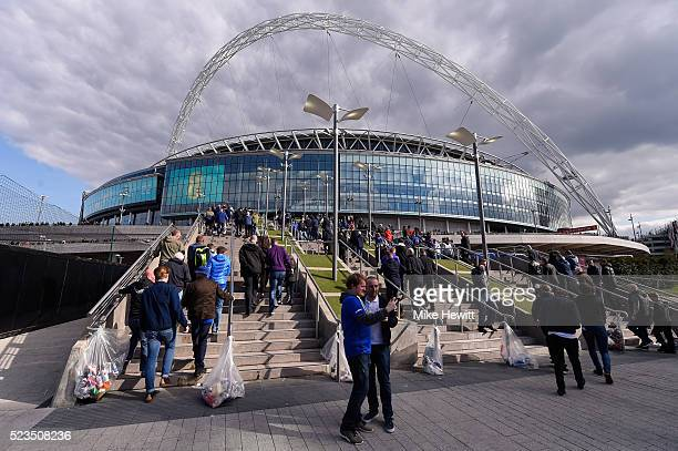 A general view of the stadium prior to The Emirates FA Cup semi final match between Everton and Manchester United at Wembley Stadium on April 23 2016...
