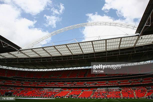 A general view of the stadium prior to the FA Cup Final match sponsored by EON between Manchester United and Chelsea at Wembley Stadium on May 19...
